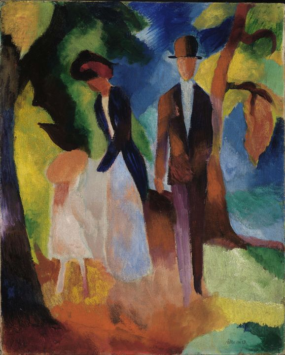 August Macke~People by the Blue Lake - Old master image