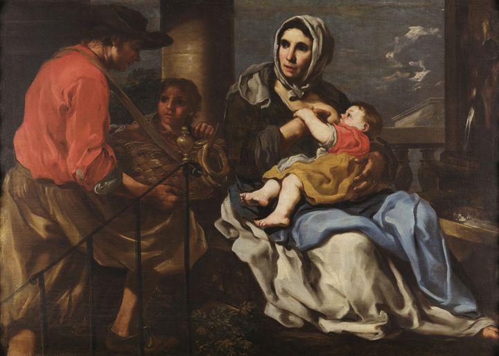 Bernhard Keil~Nursing peasant - Old master image