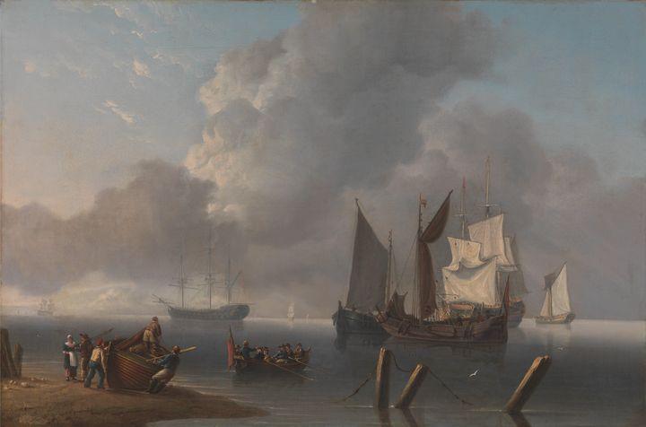 Charles Martin Powell~Warships Lying - Old master image
