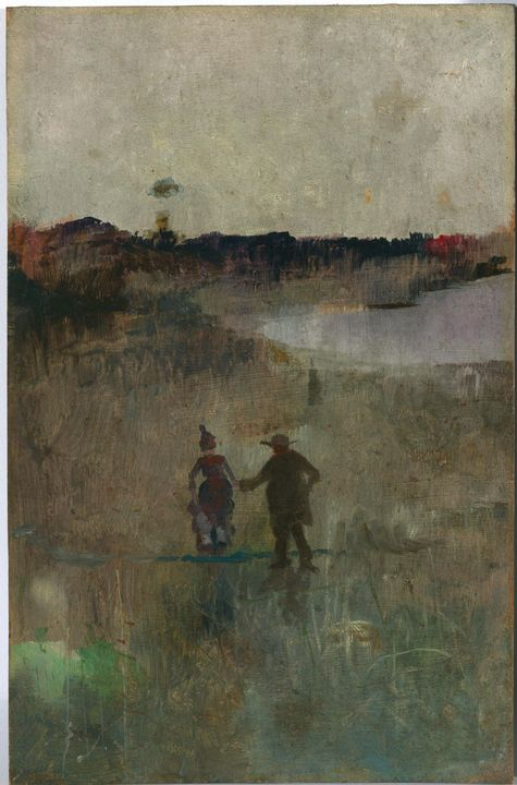 Charles Conder~(Landscape with two s - Old master image
