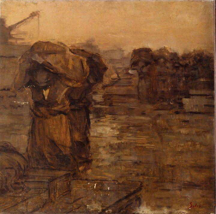 Abel Salazar~On the Pier – Porto - Old master image