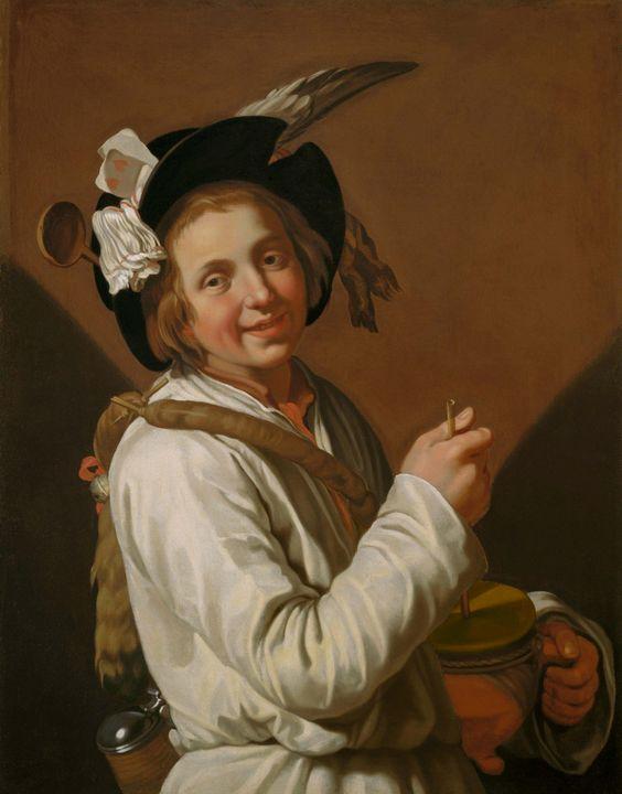 Abraham Bloemaert~Boy with rumbling - Old master image