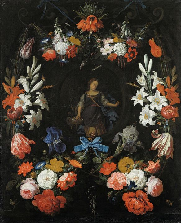Abraham Mignon~Garland of Flowers - Old master image