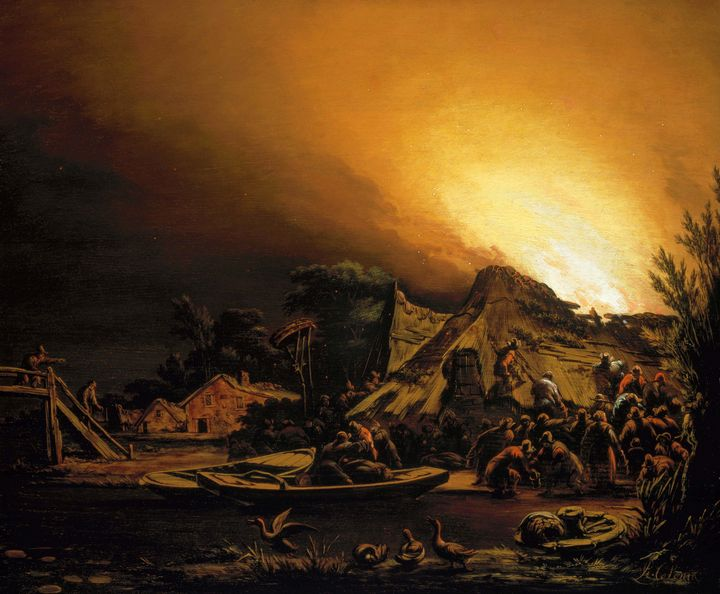 Adam Colonia~Villagefire by night - Old master image