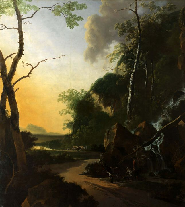 Adam Pynacker~Italianate Landscape w - Old master image