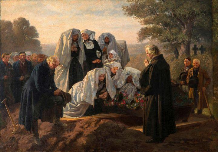 Adolf Burger~Burial in Wenden Spreew - Old master image
