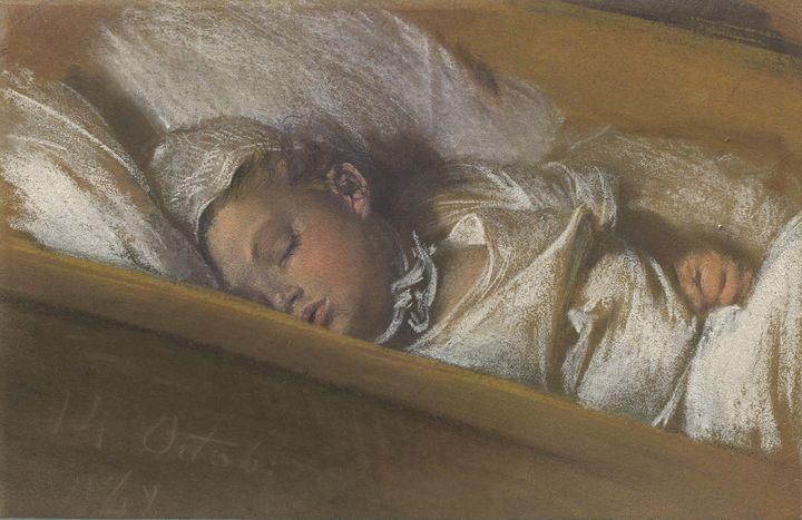 Adolph Menzel~An Infant Asleep in Hi - Old master image
