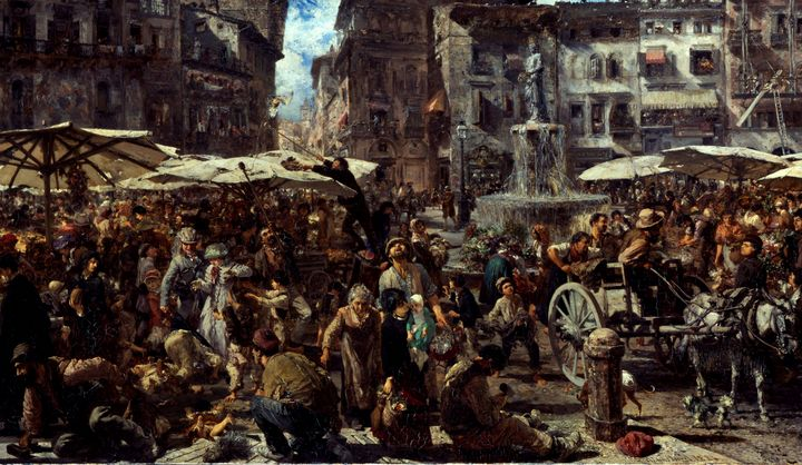 Adolph Menzel~Piazza d'Erbe in Veron - Old master image
