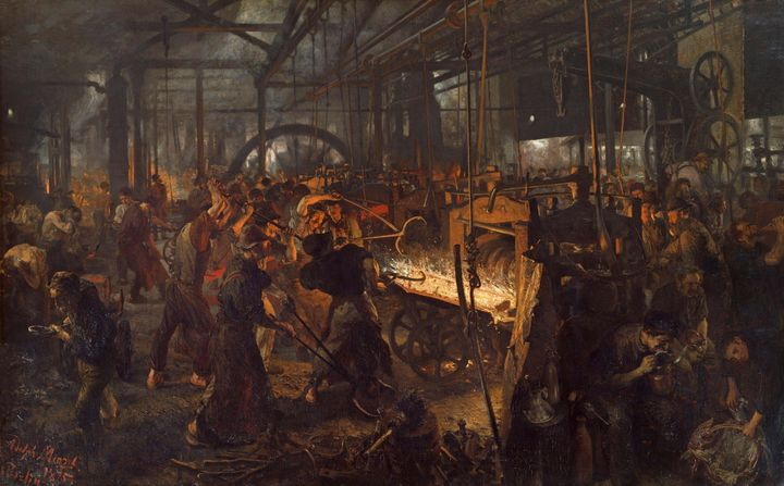Adolph Menzel~The Iron Rolling Mill - Old master image