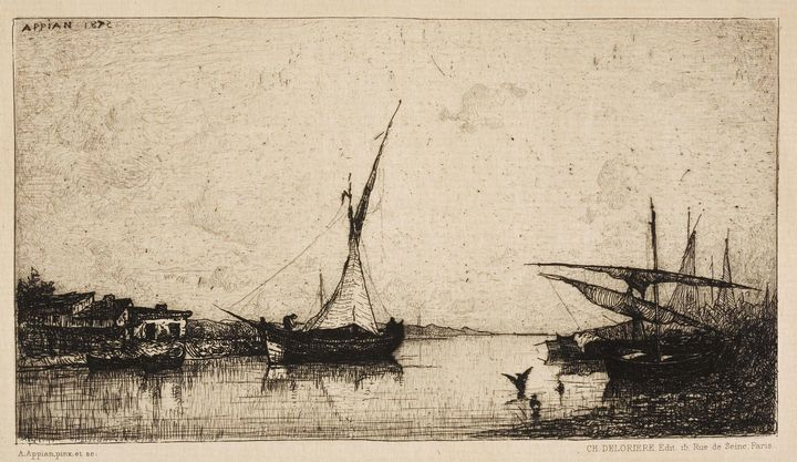 Adolphe Appian~Boats at the Shore - Old master image