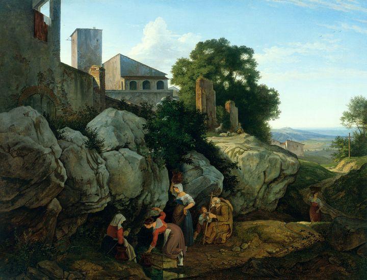 Adrian Ludwig Richter~Ariccia (Morni - Old master image