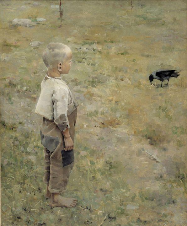 Akseli Gallen-Kallela~Boy with a Cro - Old master image