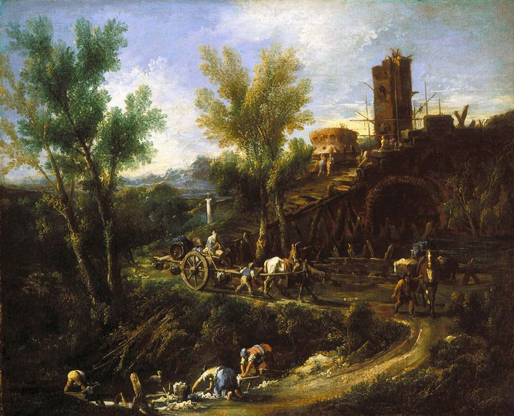Alessandro Magnasco~Landscape with G - Old master image