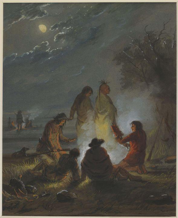 Alfred Jacob Miller ~ Camp Fire, Pre - Old master image
