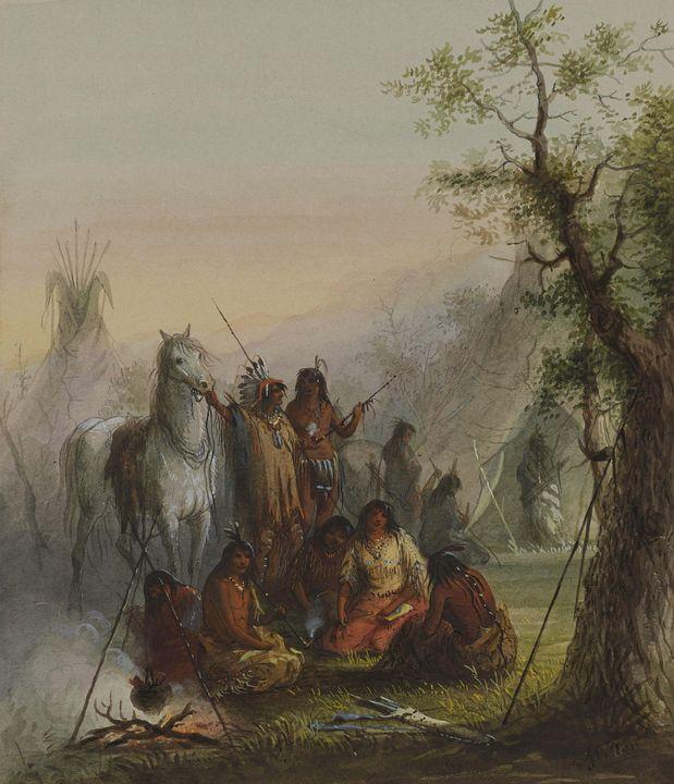 Alfred Jacob Miller~Encampment of In - Old master image