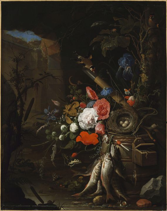 Abraham Mignon~Still Life in a Grott - Old master image