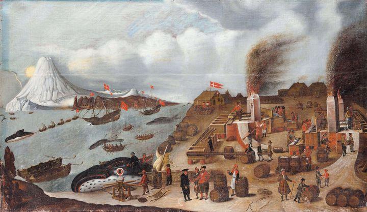 Abraham Speeck~Danish Whaling Statio - Old master image