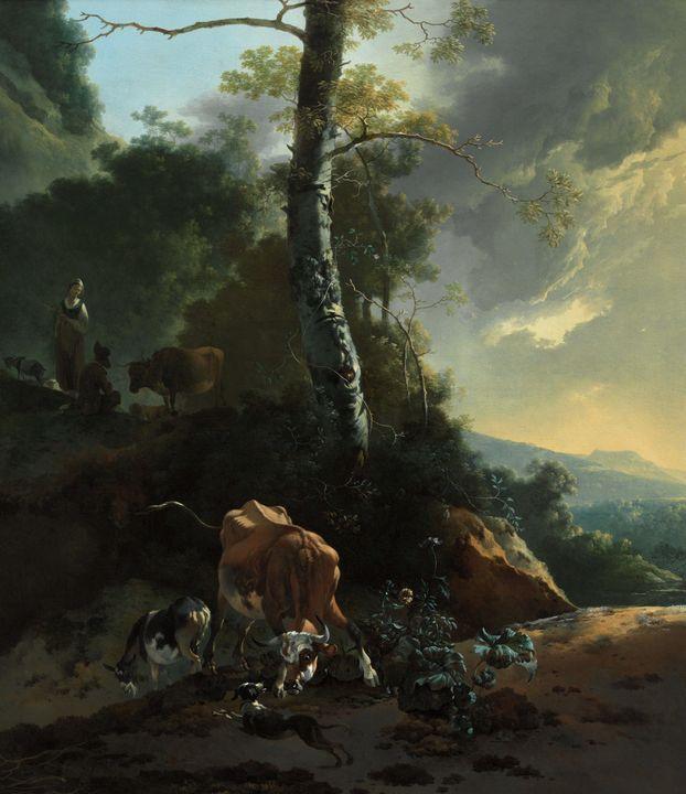 Adam Pynacker~Landscape with enraged - Old master image