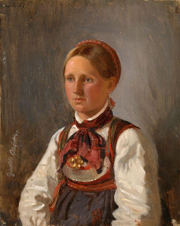 Adolph Tidemand~Portrait of Gunild O - Old master image