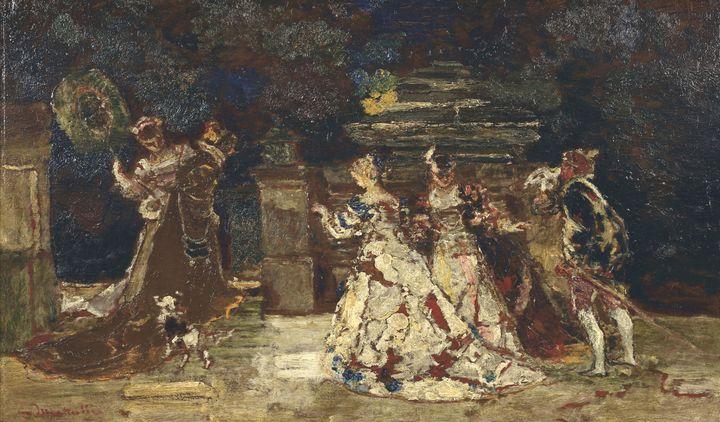 Adolphe Joseph Monticelli~Garden Fet - Old master image