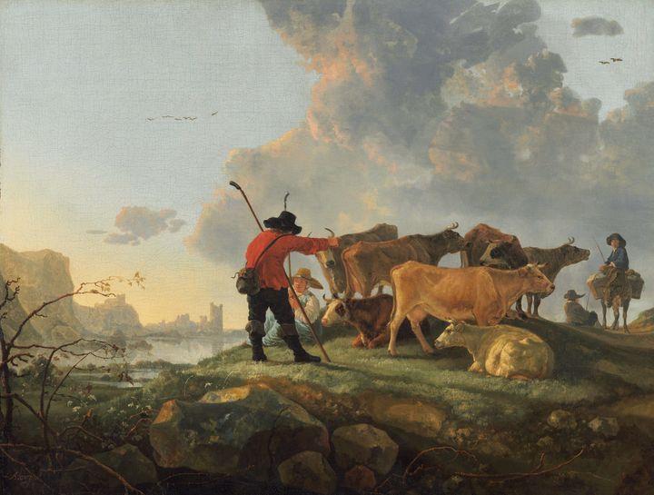 Aelbert Cuyp~Herdsmen Tending Cattle - Old master image