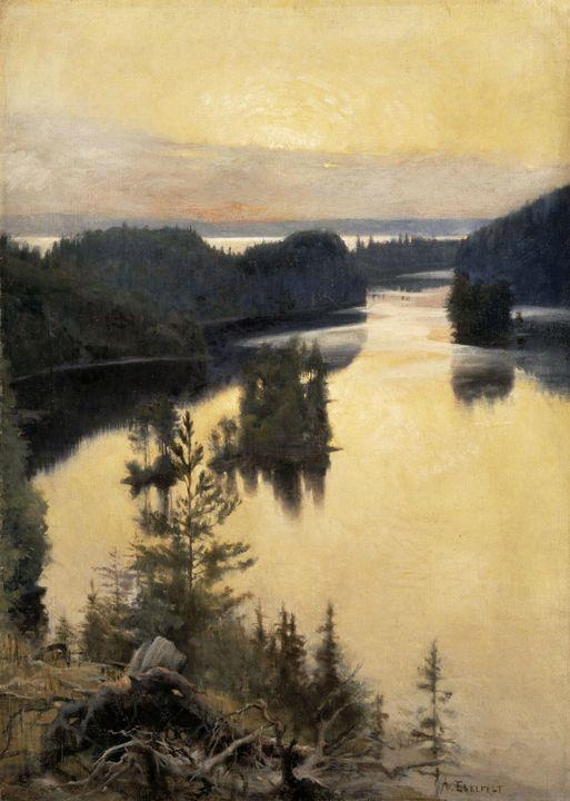 Albert Edelfelt~Kaukola Ridge at Sun - Old master image