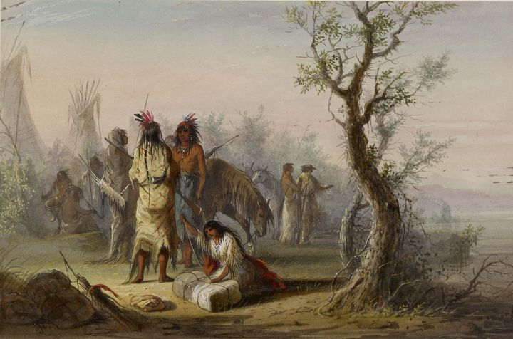 Alfred Jacob Miller~An Indian Camp - Old master image