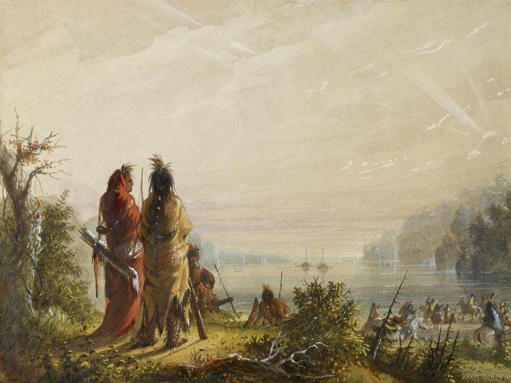 Alfred Jacob Miller~Indians Threaten - Old master image