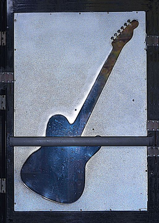 Vintage blue-tan guitar-glass - Renee Anderson