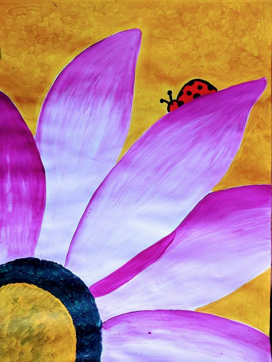 Modern Art- Lady Beetle on a Flower - Venus Art Gallery