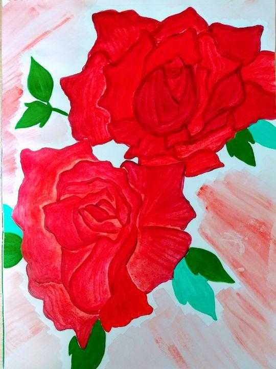 Flowers- Red Roses (Modern Art) - Venus Art Gallery
