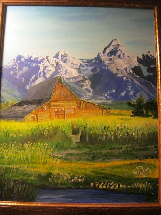 Old barn with Tetons in backgrund - Gazebo Art