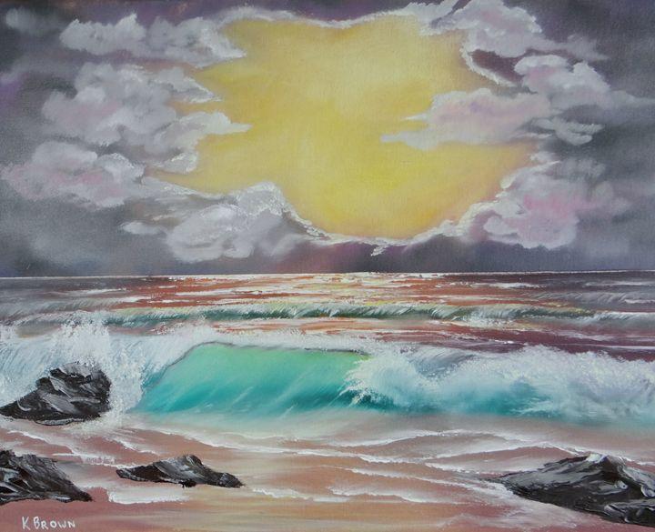 Crashing Wave At Sunrise - Ocean Blue Paintings