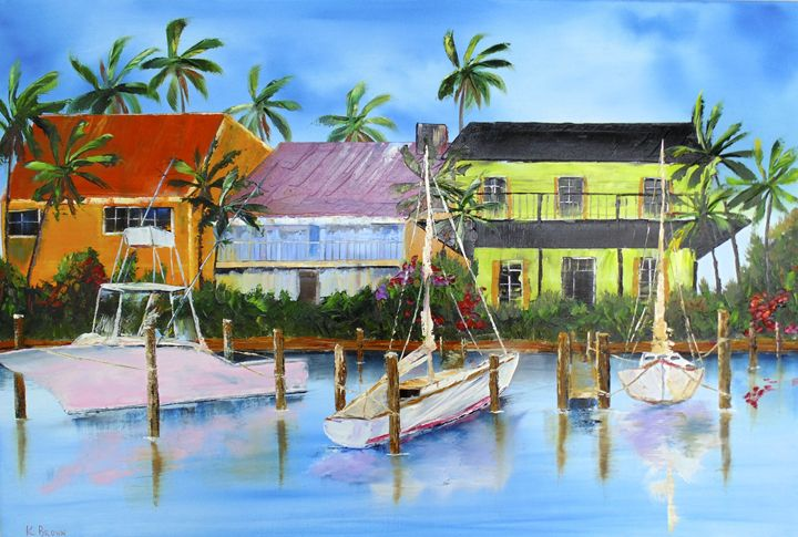 Docked At The House - Ocean Blue Paintings