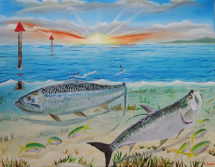 Tarpon at Sunrise - Ocean Blue Paintings