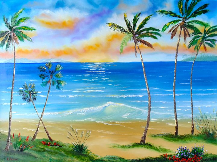 Palm Tree Paradise - Ocean Blue Paintings