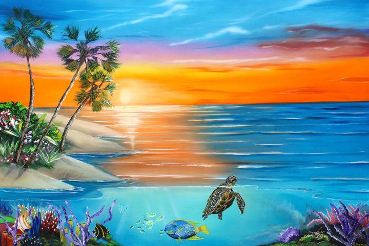Underwater Paradise Ocean Blue Paintings Paintings