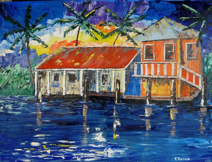 Caribbean House - Ocean Blue Paintings