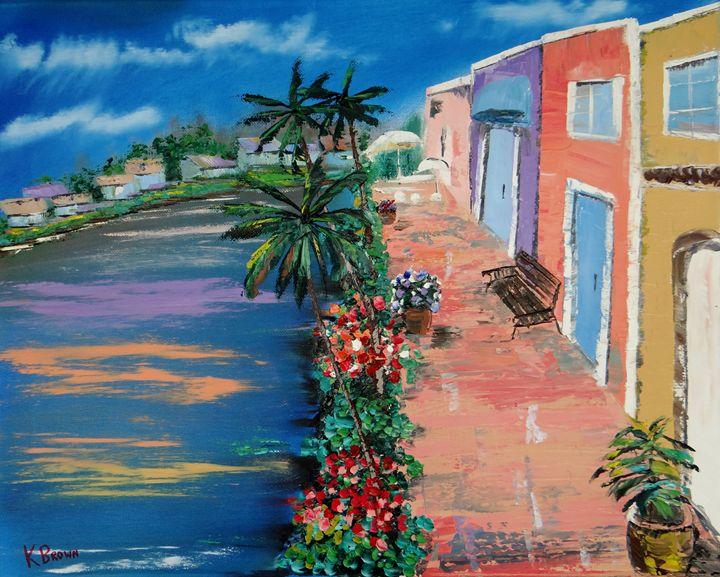 Stores Along The Intercoastal - Ocean Blue Paintings