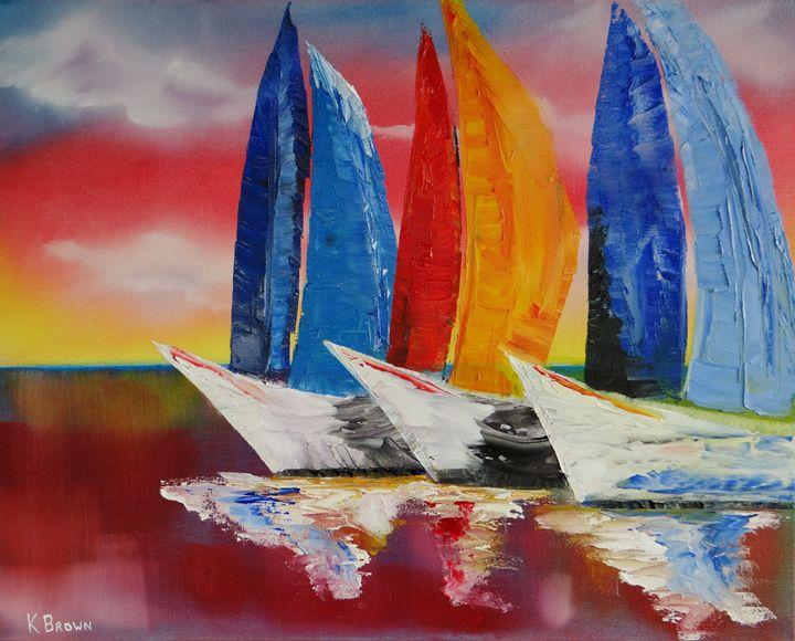 Sailboat Reflections - Ocean Blue Paintings