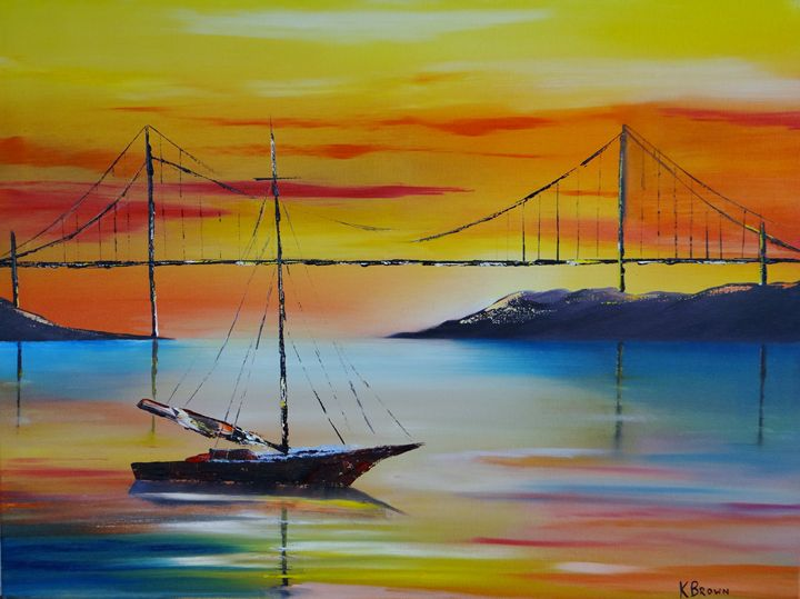 Sailing At Sunset - Ocean Blue Paintings