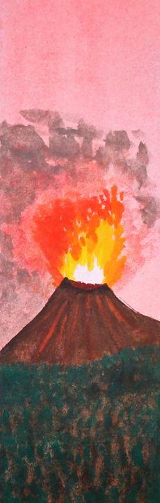Volcano Watercolor Bookmark - Angelique Nicole