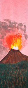 Volcano Watercolor Bookmark