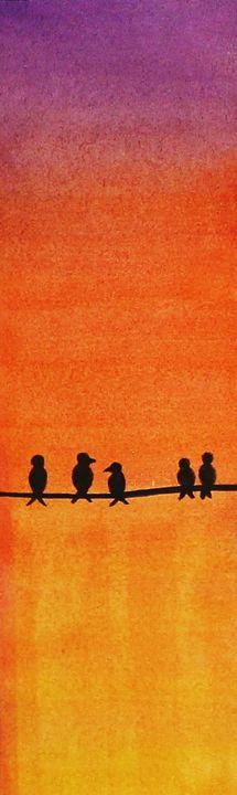 Birds on a Wire Watercolor Bookmark - Angelique Nicole