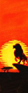 Orange Lion King Watercolor Bookmark