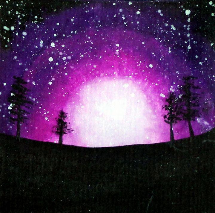 Purple Night Sky Watercolor - Angelique Nicole