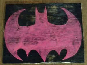 pink batman wood decor