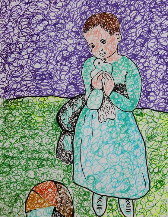 Child Holding a Dove - Shree - Shree