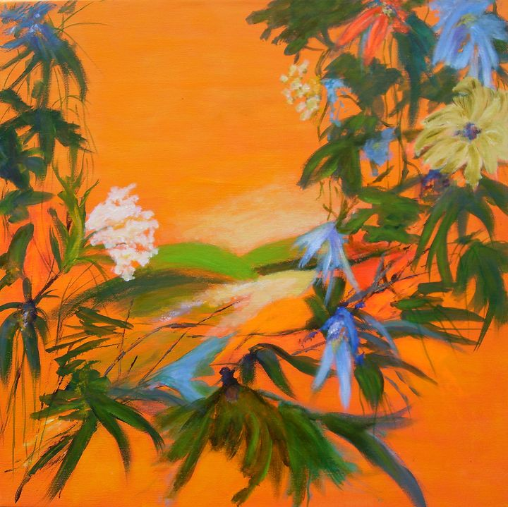 TROPICAL GARDEN 2 - orange - Aase Lind Art