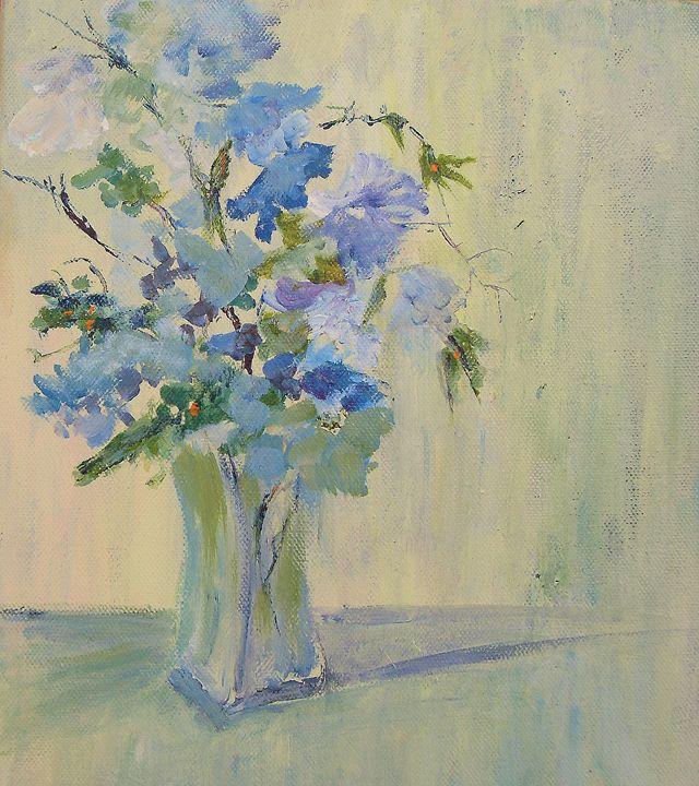 Blue Flowers in Vase (SOLD) - Aase Lind Art